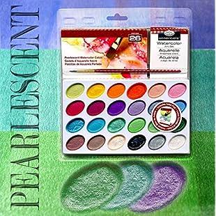 Pearlescent Watercolor Cakes 24 Colors+brush+tray+pad:Kumagai-yutaka