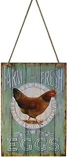 VORCOOL huevos frescos placa decorativa de madera, diseño retro vintage shabby chic country farmhouse rústico decoración del hogar signo