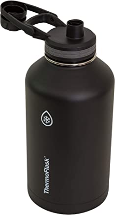 Thermoflask 50055 Chug and Straw Lid Water bottle, 64 ounce, Black