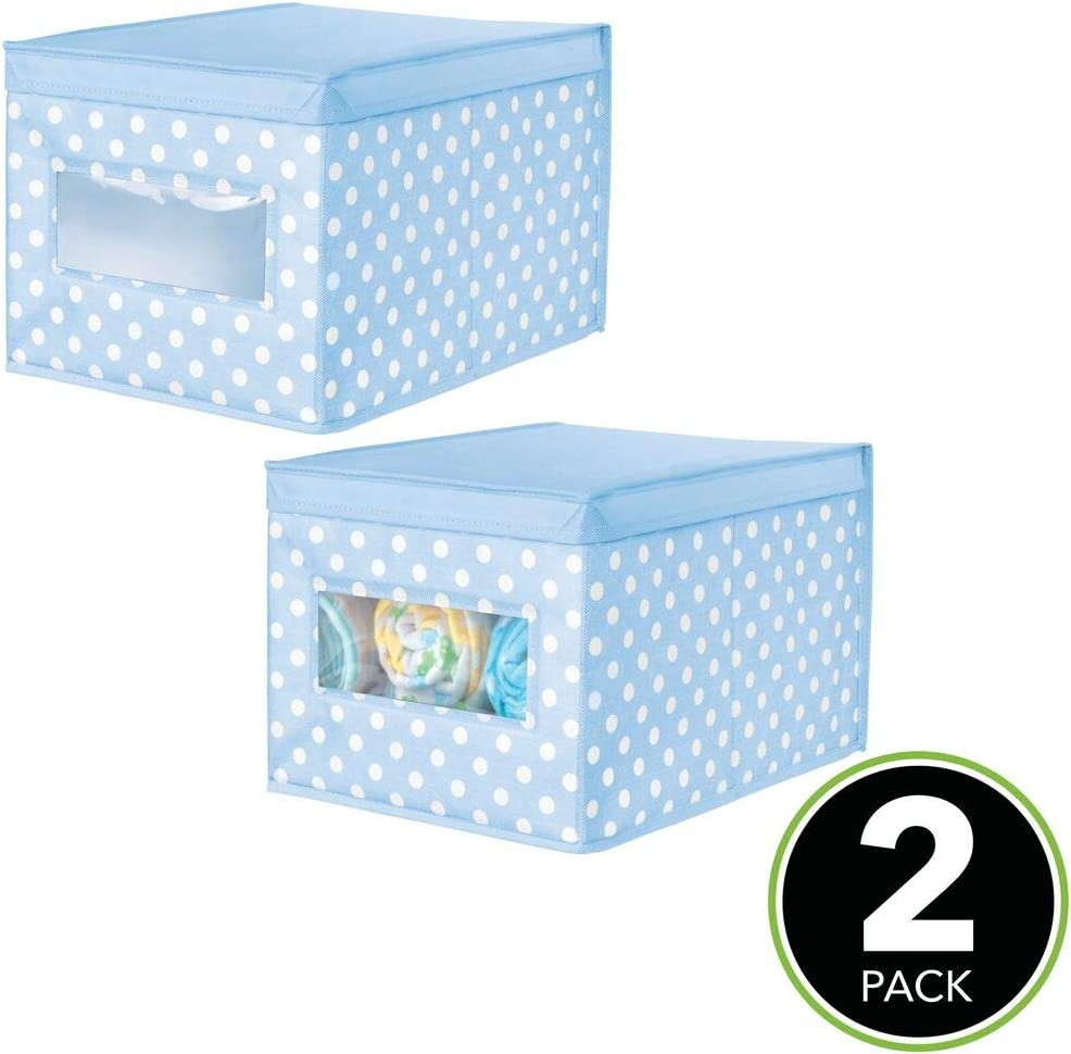Polka Dot Print mDesign Soft Stackable Fabric Closet Storage Organizer Holder Box Gray with White Dots for Child//Kids Room Playroom Large Nursery 2 Pack Clear Window Attached Hinged Lid
