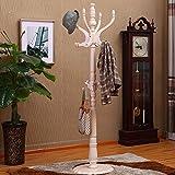 CDXZRZYH Escudo Ronda chasis Cremallera de una Pieza de Piso de Madera Perchero Moderno Minimalista Percha Ministerio del Interior Sombrero Vertical en Bastidor Brown, Blanco (42 * 42 * 180cm)