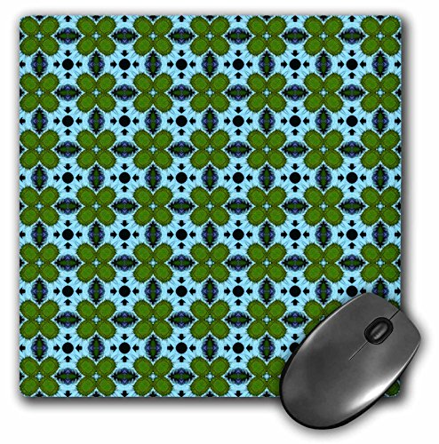3dRose Jaclinart Blue Green and Navy Geometric Floral Collection - Moss Green Geometric Flowers on a Patterned Blue Background - Mousepad (mp_63999_1)