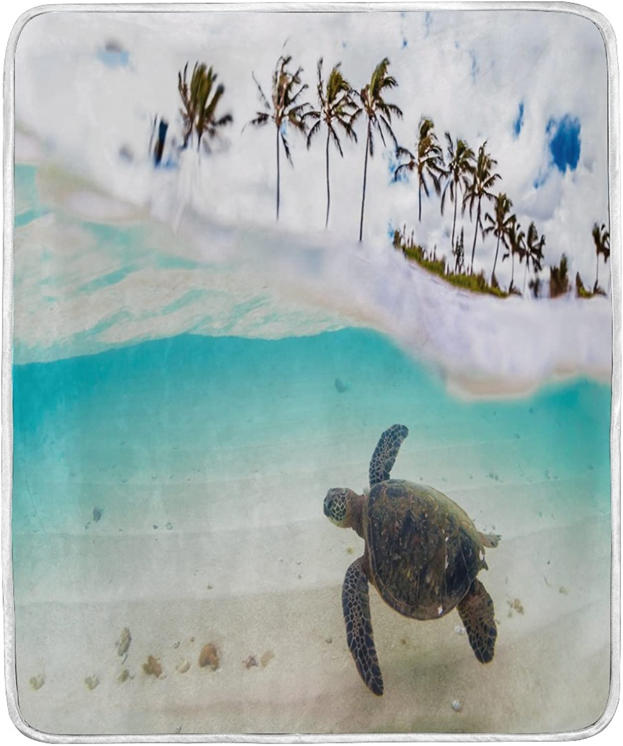 ALAZA Home Decor Palm Tree Hawaiian Sea Turtle Blanket Soft Warm Blankets for Bed Couch Sofa Lightweight Travelling Camping 60 x 50 inch Throw Size for Kids Boys Women