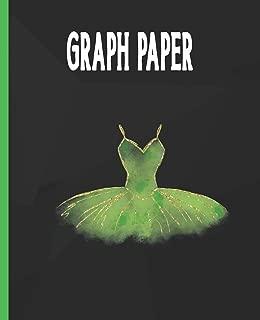 Graph Paper: Ballet Dancer Quadrille Paper Ballerina Coordinate Paper Quad Ruled Green Ballet Dress Tutu Bodice Costume