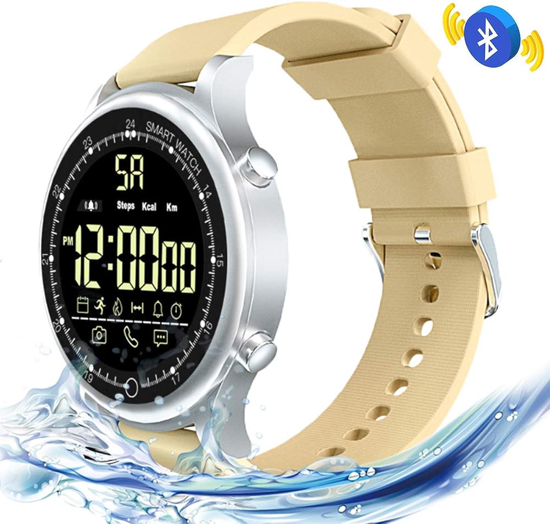 Jonly wasserdichte intelligente Uhr Blautooths 4.0 IP67, Blautooth-Herzfrequenz-Schlaf-überwachungsschritt-Informations-Ttigkeits-Verfolger-intelligente Uhr,Beige