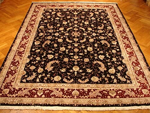 Harooni safety FINE Quality Natural Rug Black 9x12 WoolSilk Daily bargain sale