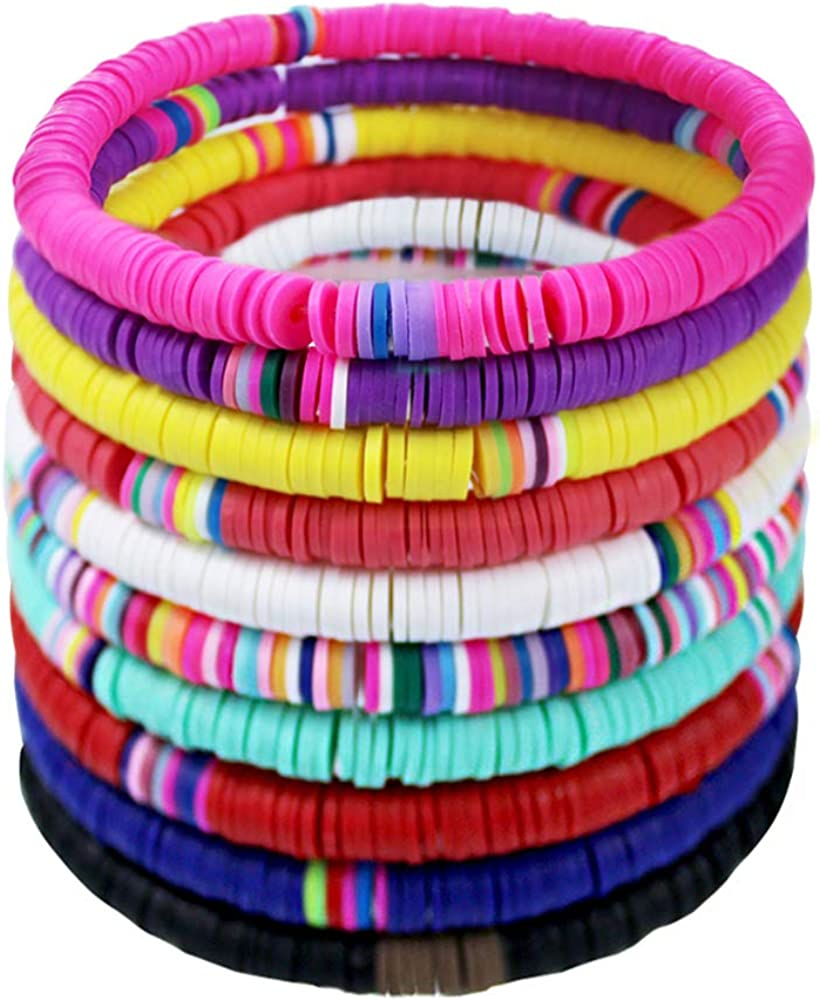 10 Pcs Heishi Bracelet Set Beaded Polymer for Outlet ☆ Free Shipping Free shipping New Rainbow W