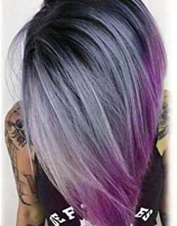 aSulis Ombre Wigs Short Bob Wigs Purple Colorful Party Wig Synthetic Daily Wig for Women 13