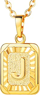Monogram Necklace A-Z 26 Letters Pendants 18K Gold/Platinum Plated Square Tiny Initial Necklaces for Women Girls,Chain 18