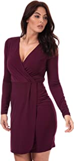 French Connection Womens Long Sleeve Slinky Wrap Dress in Hollyhock.