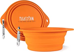 Mighty Paw Collapsible Travel Dog Bowl Set - 2 Pack (27 Oz) | Food Safe Silicone Food & Water Bowls for Pets. Bonus Carabiner Clip for Hiking, Camping or Walking. Lightweight & Leak-Proof