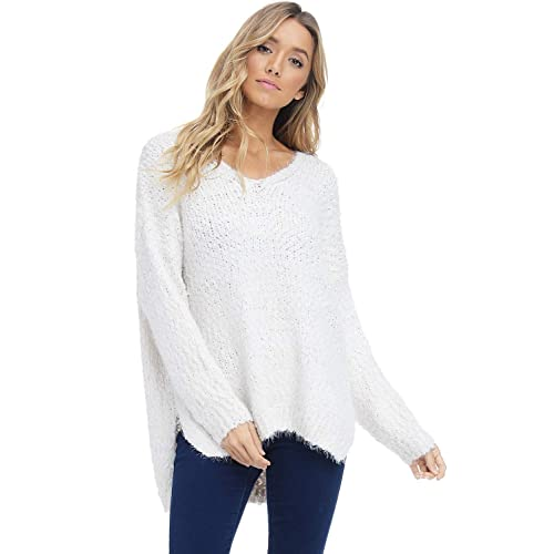 c9d86c6f028 Alexander + David Womens V-Neck Fall Pullover Sweater - Dolman Chunky Fuzzy  Knit
