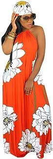 QIQIU New Womens Sexy Strapless Halterneck Backless Fashion Lotus Print Long Boho Dress with Headscarf