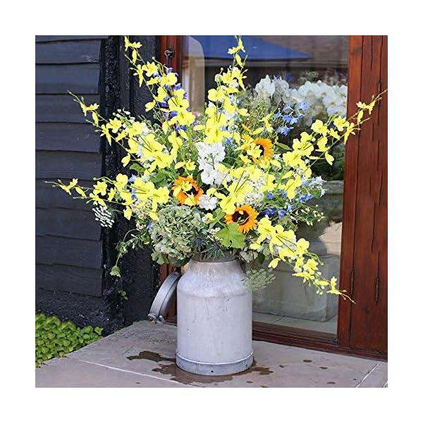 XHXSTORE 10PCS Flores Artificiales Amarillas Orquidea Artificial de Plastico para Jarrones Cesta Mesa Maceta Balcon…