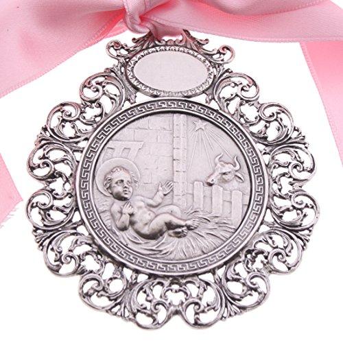 SACRE COEUR Placa de Cuna   Medalla Bebé de Plata   Jesús Pesebre (Rosa Coral)
