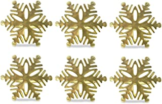 DII Modern Chic Napkin Rings for Christmas, Holidays, Dinner Parties, Weddings Receptions, or Everyday Use, Set Your Table With Style - Gold Snowflake, Set of 6