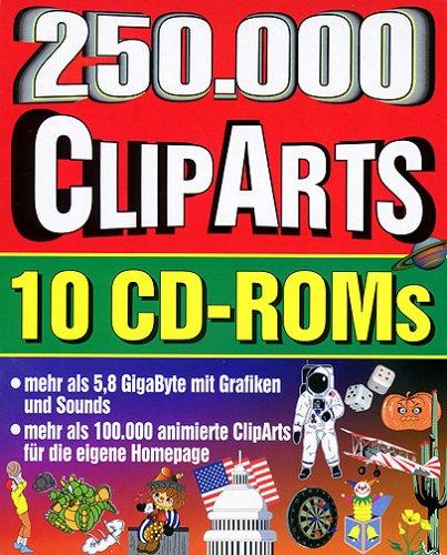Zweihundertfünfzigtausend ClipArts, 10 CD-ROMs105.000 animierte GIFs, 118.000 GIFs, 1.500 MIDI-Files, 5.900 WAV-Effekte . . . Für Windows 95/98