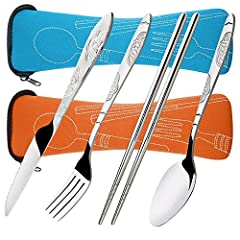 EASY CARRYING: With a carrying case, this flatware set is convenient to carry in a backpack or purse. RUSTPROOF & DURABLE: They are corrosion-free and rust-less because of using the material of stainless steel, keep shiny for long time. EASILY CLEAN:...