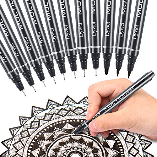 Dyvicl Multiliner Ink Pen Set, Precision Micro-Line Pens, Fineliner Black Drawing Pens Waterproof Archival Ink Artist Illustration, Manga, Anime, Sketching, Technical Drawing, Bullet Journaling