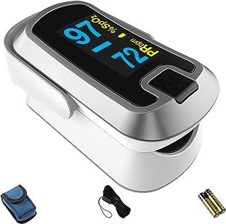 MIBEST نقره ای رنگ OLED انگشت پالس اکسیمتر - مانیتور جذب اکسیژن خون با صفحه نمایش OLED صفحه نمایش رنگی و شامل باتری - O2 مانیتور اشباع
