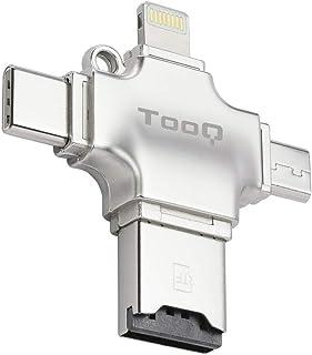 Tooq TQR-4001- Lector Tarjetas de Memoria Micro SD 4 en 1 Adaptador Tarjetas USB/Lightning/Micro USB/Tipo C. Lector de Tar...