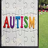 Autism Window Film Window Film 3D,Completed Puzzle Pieces with Calligraphy Representing a Neurological Disability Removable Glass Sticker for Bathroom Kids Room Sliding Door,Multicolor 24' x 36'
