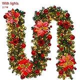 AGKupel Guirnalda de Navidad 2.7M Artificial Decoración de Navidad Guirnalda de Abeto para Hogar Ventana Puerta Pared Escaleras Chimeneas (Rojo#2)