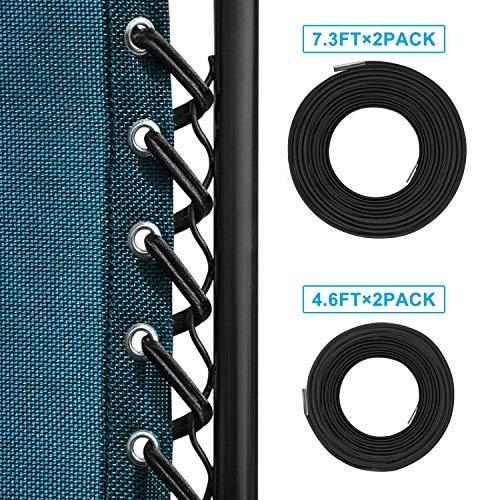 Cordini di ricambio universali per sedie a gravità zero (4 cordi), Keten, lacci di ricambio per sedie a gravità zero e strumento di riparazione reclinabile per sedia da lounge, sedia elastica (nero)