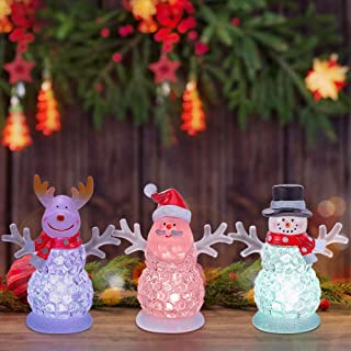 pearlstar Battery Operated Small Christmas Figurines with Color Changing LED Light for Table Decoration and Gift - Set of 3 Acrylic Reindeer, Santa, Snowman, 4.5inch
