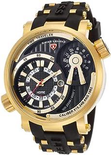 Swiss Legend Men's Time Traveler Stainless Steel Swiss-Quartz Watch with Silicone Strap, Black, 24 (Model: 13841SM-YG-01)