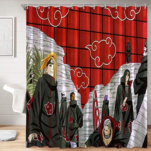 Naruto - Juego de cortina de ducha de tela con ganchos para decoración de baño de niños, 182,88 x 182,88 cm