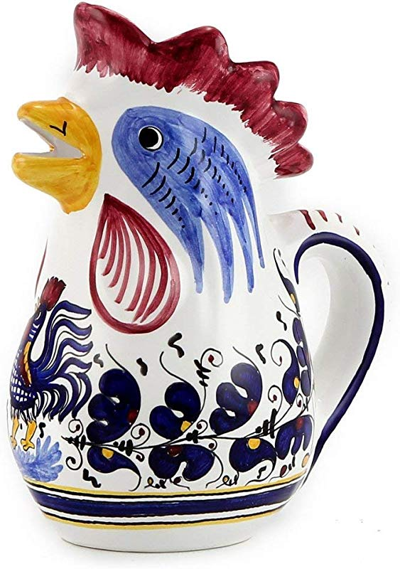 ORVIETO BLUE Rooster Of Fortune Pitcher 1 Liter 34 Oz 1 Qt