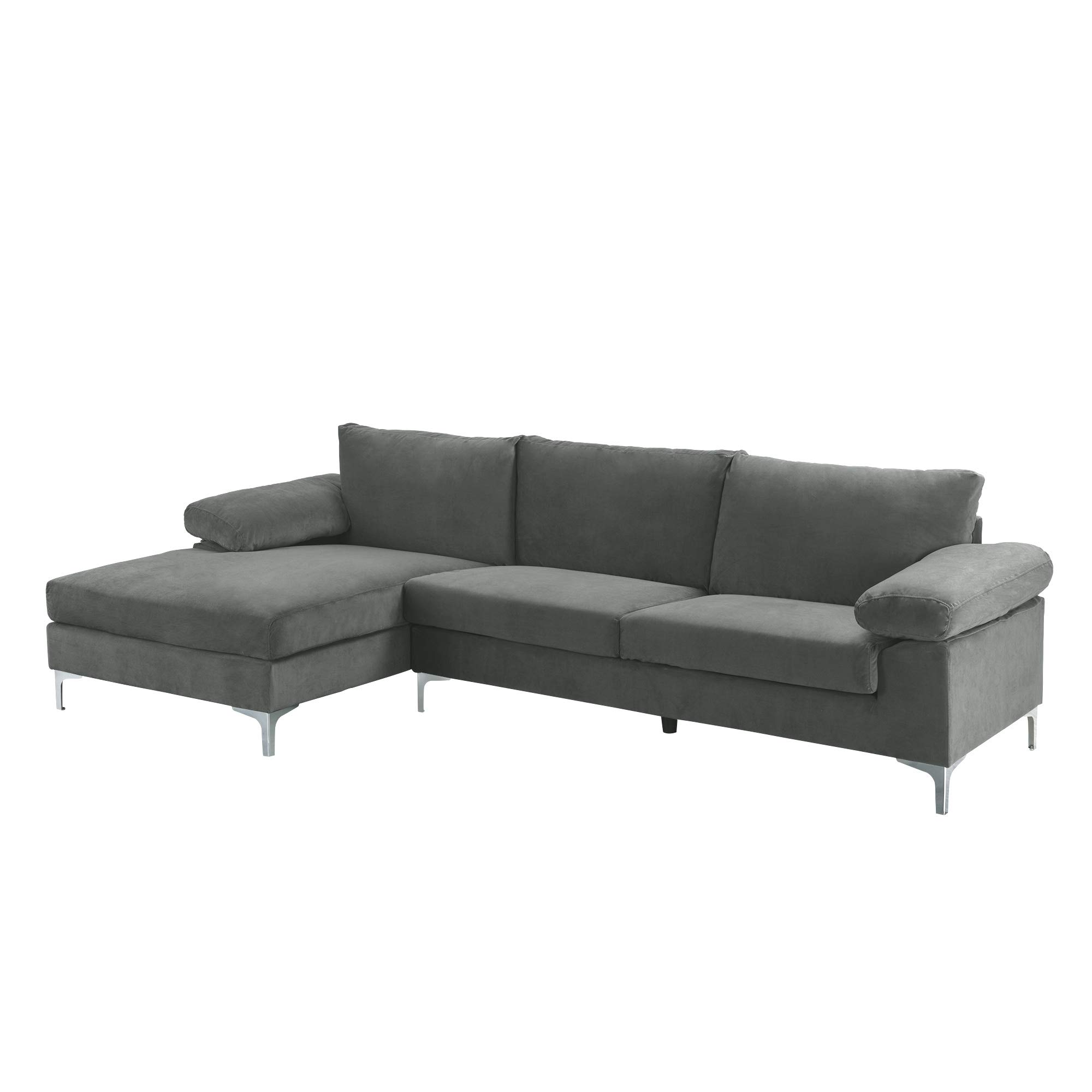 Casa Andrea Milano llc Modern Large Velvet Fabric Sectional Sofa, L-Shape Couch with Extra Wide Chaise Lounge, Grey