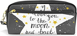 ALAZA I Love You to The Moon and Back Pencil Case Zipper PU Leather Pen Bag Cosmetic Makeup Bag Pen Stationery Pouch Bag Large Capacity