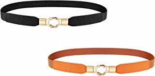 Skinny Belts for Women, 2 Pack Retro Stretch Ladies Waist Belt with Golden Buckle Plus Size for Dress