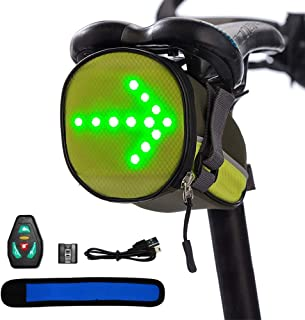 NORYER Led Bicycle Indicator Seatpost Saddle Bag Under Seat Bag Reflective Turn Signal Direction with Wireless Controller for Safe Riding at Night