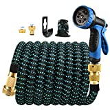 2021 Upgrade 100FT Garden Hose, Extendable Water Hose with 10 Function Nozzle, Solid Brass Connector, Wear Resistant Hose, Retractable Hose with Natural Latex Core