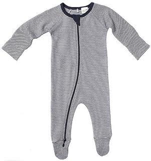 Purebaby Romper Sleepsuit With Double Zipper Navy Stripe