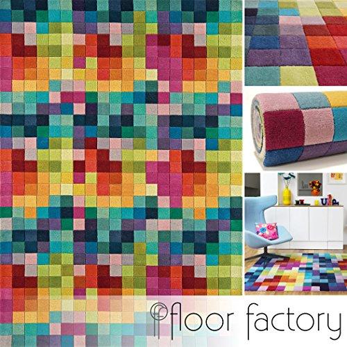 floor factory Alfombra Moderna de Lana Festival Multicolor 200x300cm - 100% Lana en Colores Luminosos y Modernos