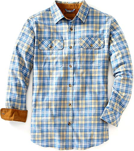 Venado Flannel Shirt for Men - Mens Flannel Plaid Shirt with Full Reach Gusset (XX-Large, Plaid Navy)