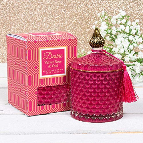 LEONARDO New Desire Velvet Rose and Oud Scented Soy Wax Candle in Artisan Glass Lidded Jar Holder with Presentation Box