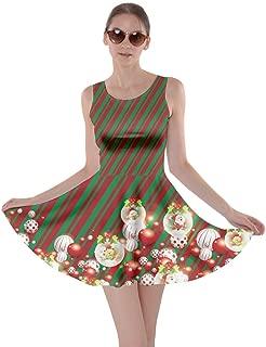 CowCow Womens Christmas Dress Xmas Santa Vintage Snowman Snowflakes Winter Skater Dress XS-5XL
