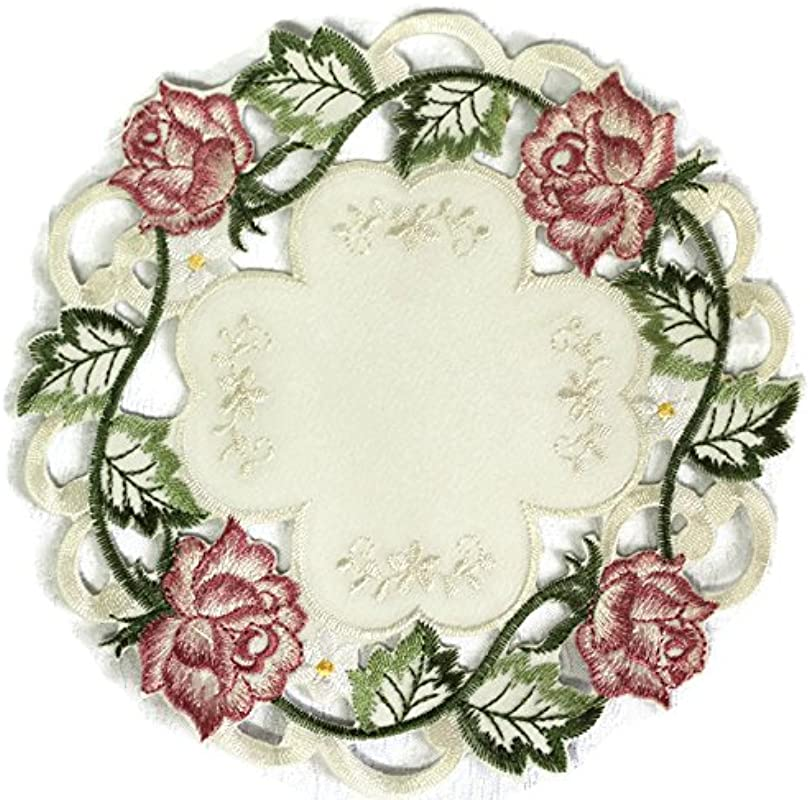 Doily Boutique Place Mat Or Doily With Victorian Pink Roses On Ivory Fabric Size 15 Inches