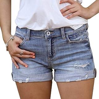Mujer Shorts de Mezclilla Agujero Rasgado Moda Jeans Skinny Elástico Pantalones Cortos de Mezclilla Cintura Media Casual V...