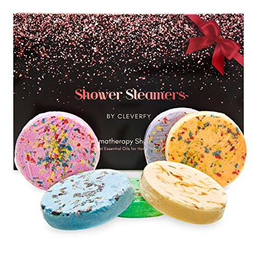 Cleverfy Aromatherapy Shower Steamers - Variety Pack of 6 Shower Bombs for Mothers Day. Rose Gold Set: Lavender, Menthol, Bergamot & Mandarin, Pomegranate & Rose, Peony & Pear, Vanilla & Sweet Orange