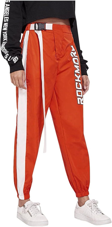 HGJG Women's Casual Pants Striped with Belt Workout Capri Pants W/Pockets Elastic Waist Tunic Slim Long Pants