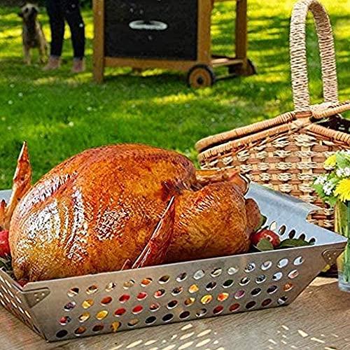 HJBH Best Vegetable Grill Basket Set De 2, Gran Parrilla para Barbacoa Wok para Verduras, Parrilla, Parrilla, Parrilla, Brochetas De Camarones, Parrilla Cuadrada Perforada para Escurrir Barbacoa.