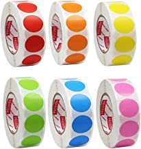 Hcode 3/4 Inch Color Coding Label Garage Sale Stickers Blank Yard Sale Price Stickers Round Colorful Stickers Permanent Adhesive Dots Writable Paper Labels 1000 Pieces (6 Colors)