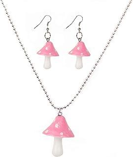 Set Cutie Creative Colorful Mushroom Shape Drop Dangle Earrings Pendant Chain Beaded Necklace Sweet Fresh for Women Girls ...