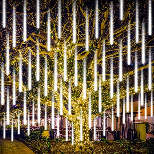 LED Meteorschauer Regen Lichter, Rilitor USB 30cm 8 Tubes 192LEDs IP65 Wasserdichte Meteor Shower Rain Lights Schneefall Lichterkette für Garten/Hochzeit/Party/Weihnachten Dekoration-Weiß